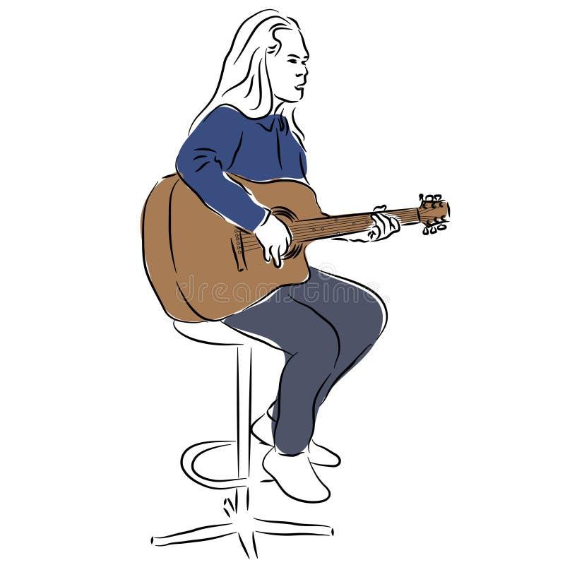 Guitarrista de la guitarra acústica que juega a los detalles Hombre del esquema con una guitarra ilustración del vector