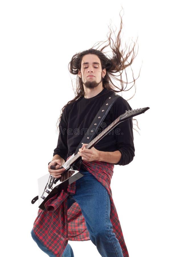 Guitarrista de metales pesados imagen de archivo