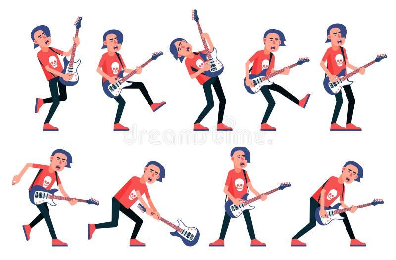 Guitarrista de um grupo de rock - várias poses ilustração royalty free