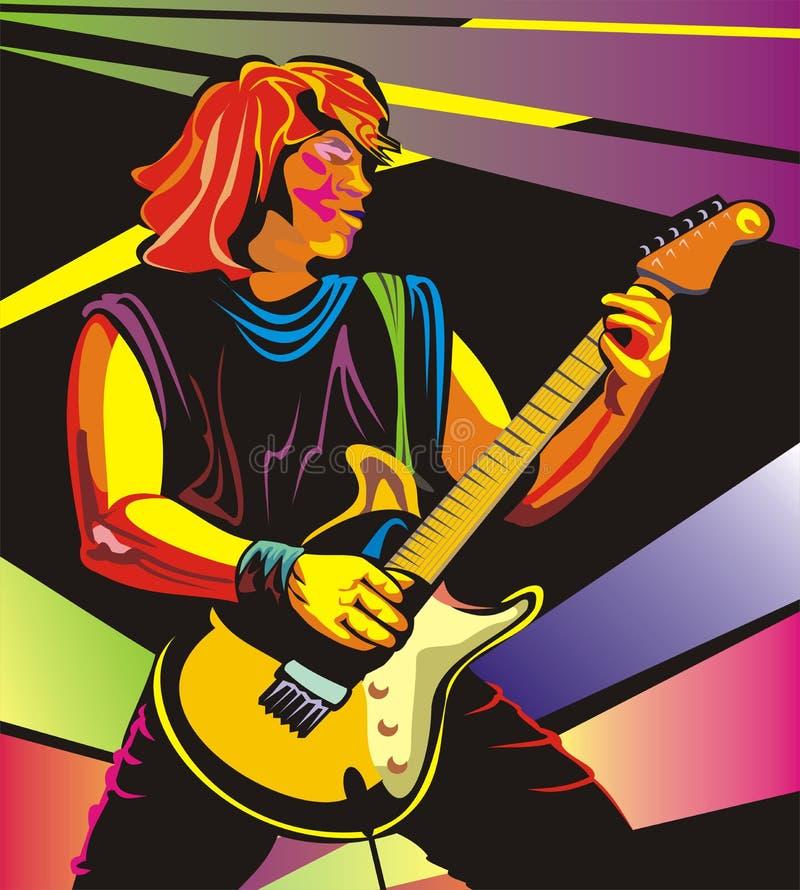 Guitarrista del arte pop - realícese en concierto stock de ilustración