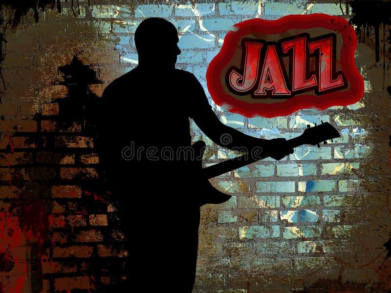 Guitarrista del jazz stock de ilustración