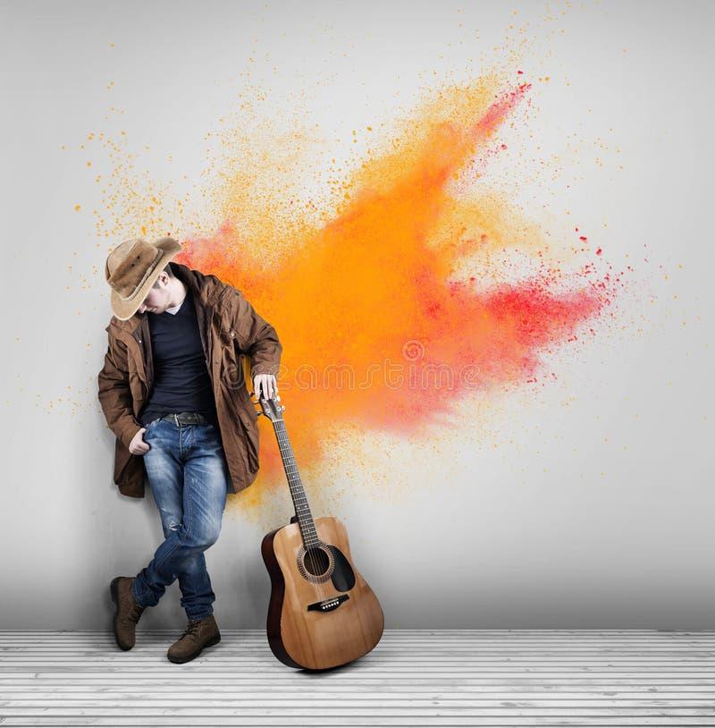 Guitarrista do vaqueiro colorido imagens de stock