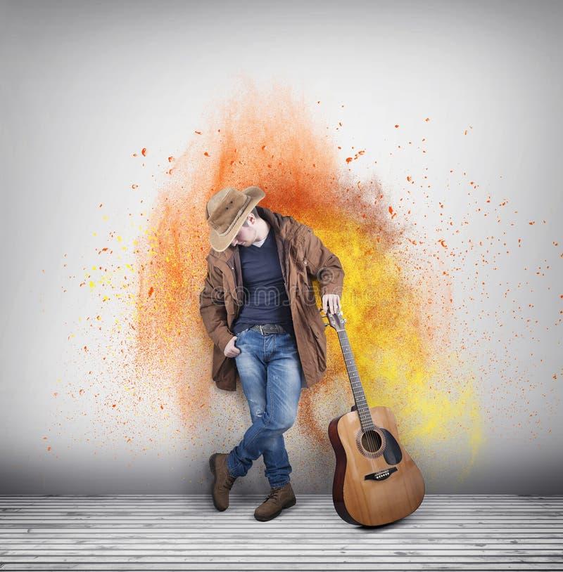 Guitarrista do vaqueiro colorido foto de stock royalty free