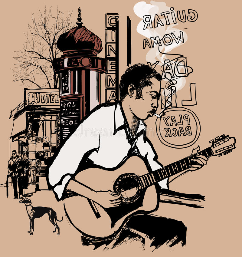 Guitarrista em uma rua ilustração stock