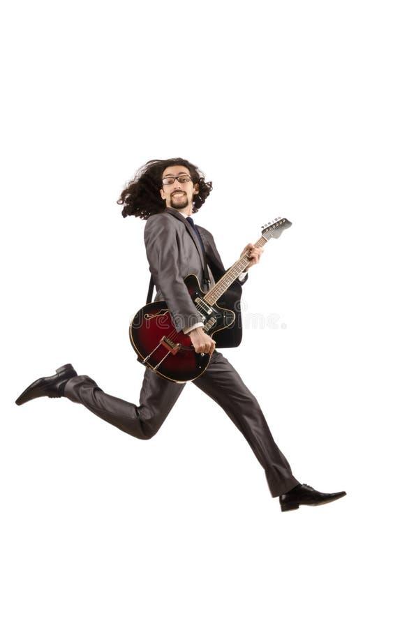 Guitarrista en juego de asunto foto de archivo