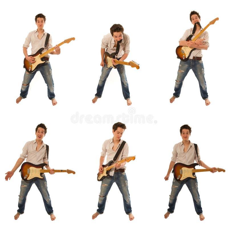 Guitarrista en una camisa fotos de archivo libres de regalías