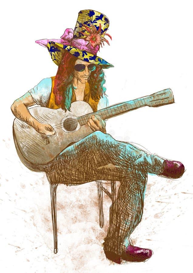 Guitarrista - excéntrico con un sombrero coloreado. ilustración del vector