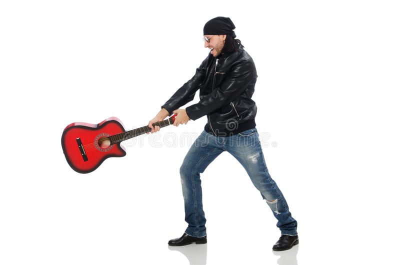 Guitarrista isolado no branco imagens de stock