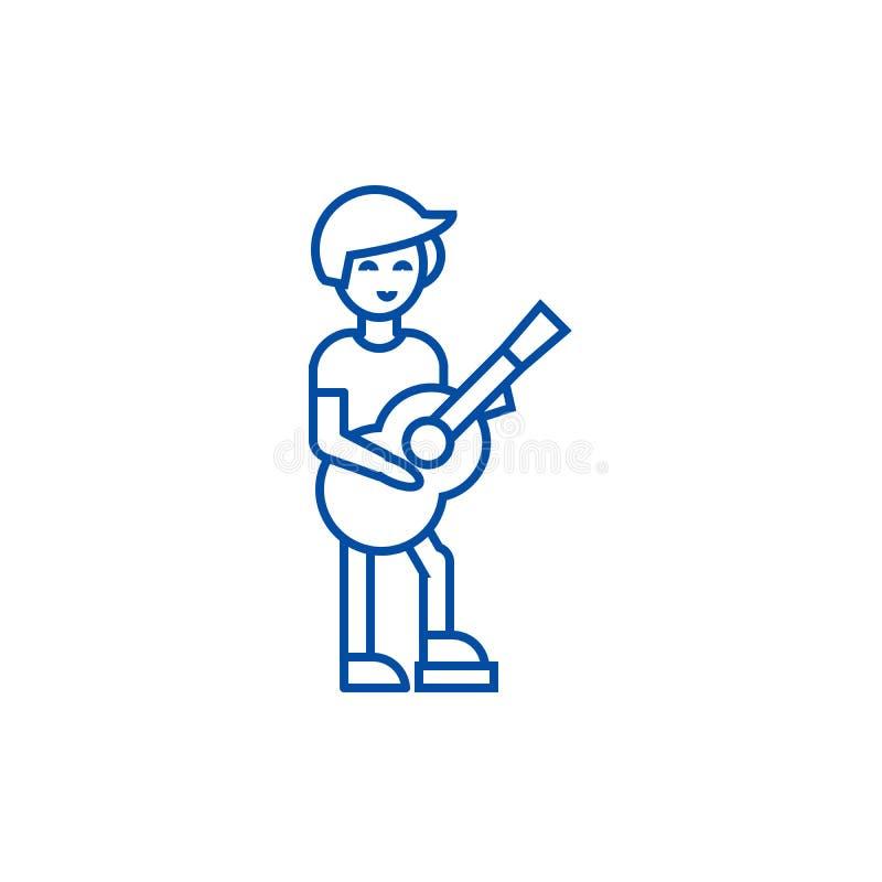 Guitarrista, línea concepto del flamenco del icono Guitarrista, símbolo plano del vector del flamenco, muestra, ejemplo del esque libre illustration