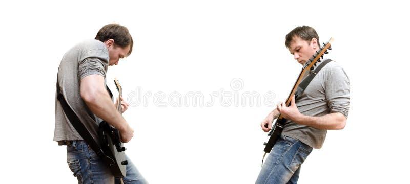 Guitarrista que joga a música pesada fotografia de stock royalty free