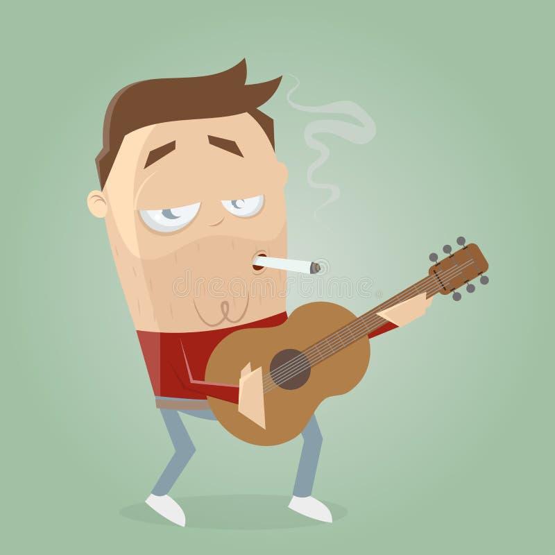 Guitarrista relajado que fuma un cigarrillo ilustración del vector