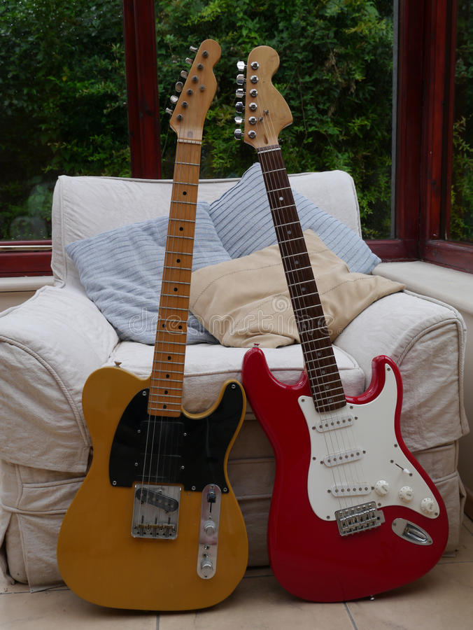Guitars. Classic fender telecaster and stratocaster guitars royalty free stock image