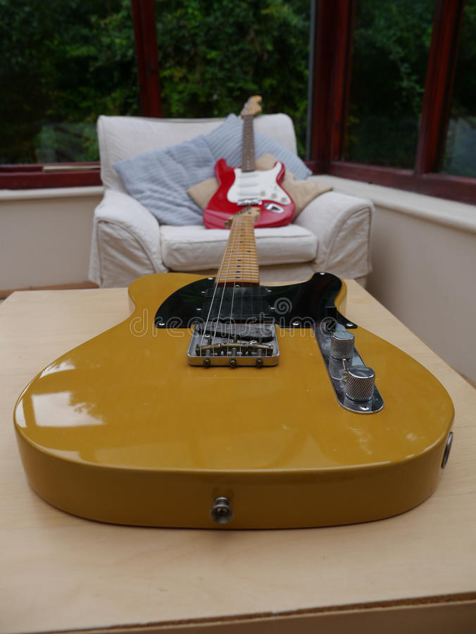 Guitars. Classic fender telecaster and stratocaster guitars stock photo