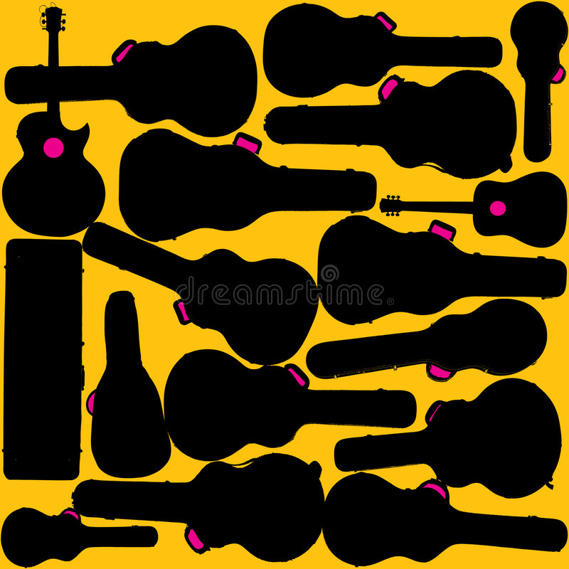 Guitars And Cases Royalty Free Stock Image