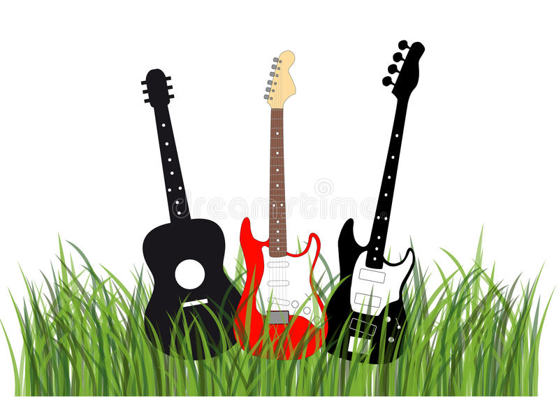 Guitars in grass. Silhouettes of acoustic, electric and bass guitar in grass illustration royalty free illustration