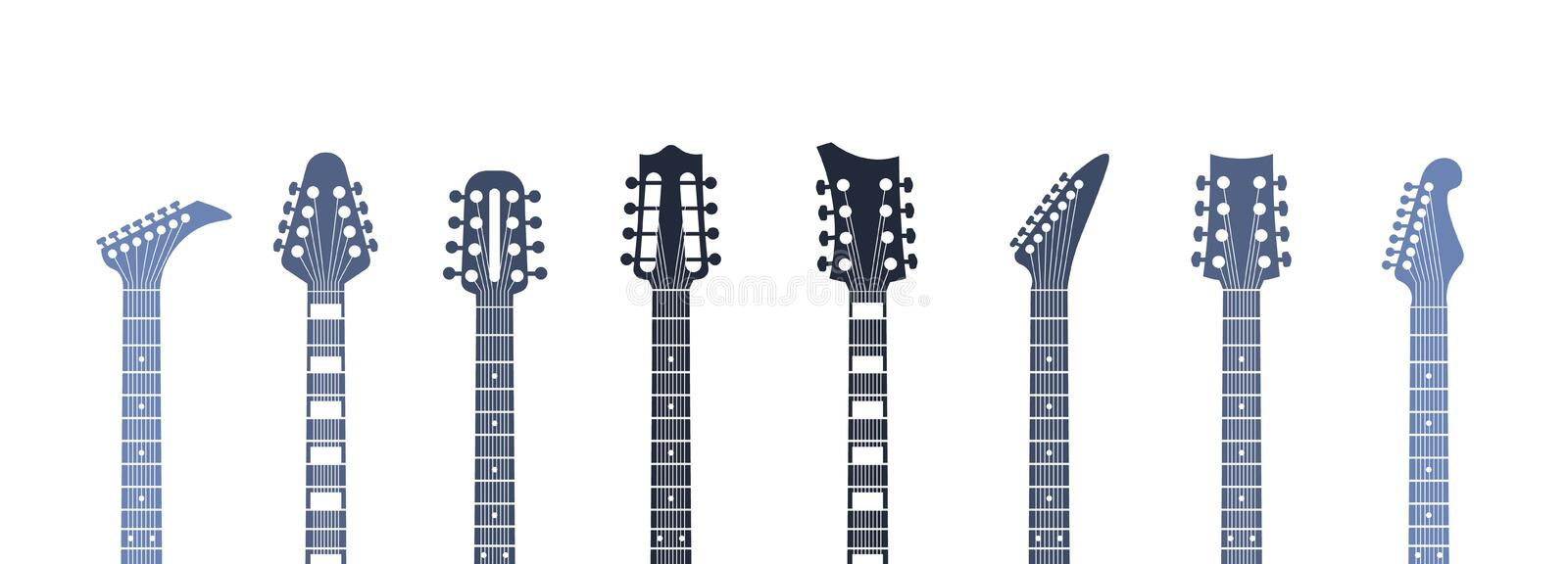Guitars headstock. Flat acoustic and electric guitar necks and heads, minimal abstract template. Vector isolated set stock illustration