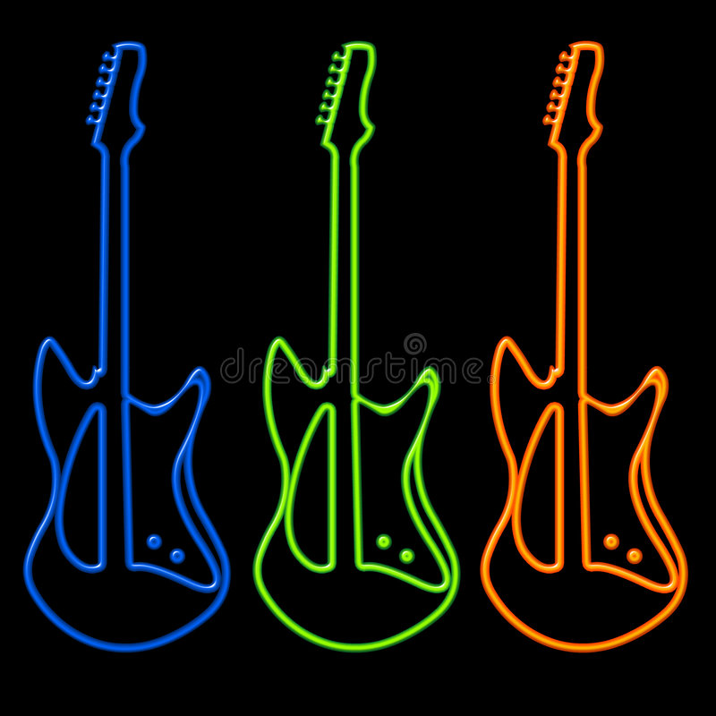 Download Guitars In Neon Stock Images - Image: 320534