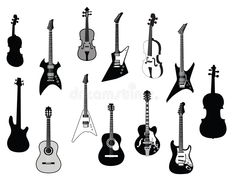 Download Guitars silhouettes stock vector. Image of cello, collection - 7618827