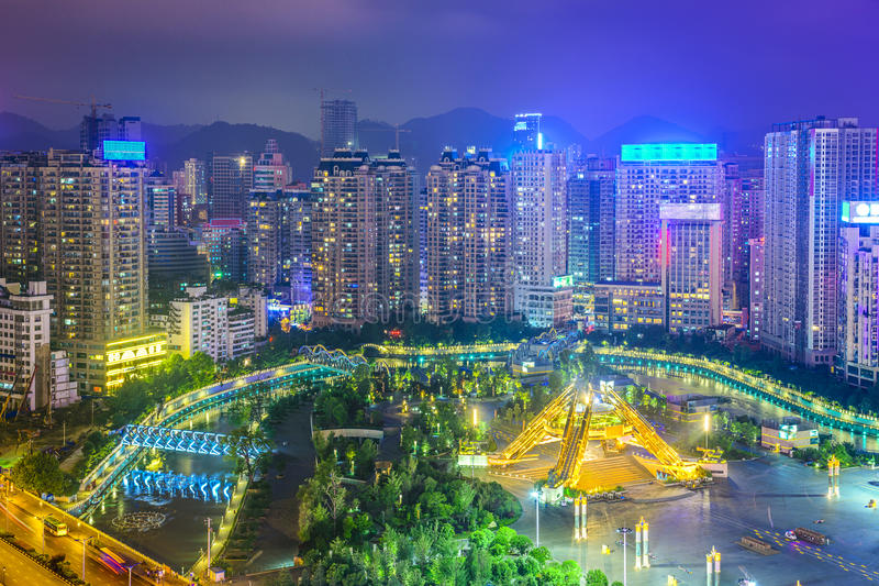 Guiyang Kina Cityscape arkivbild