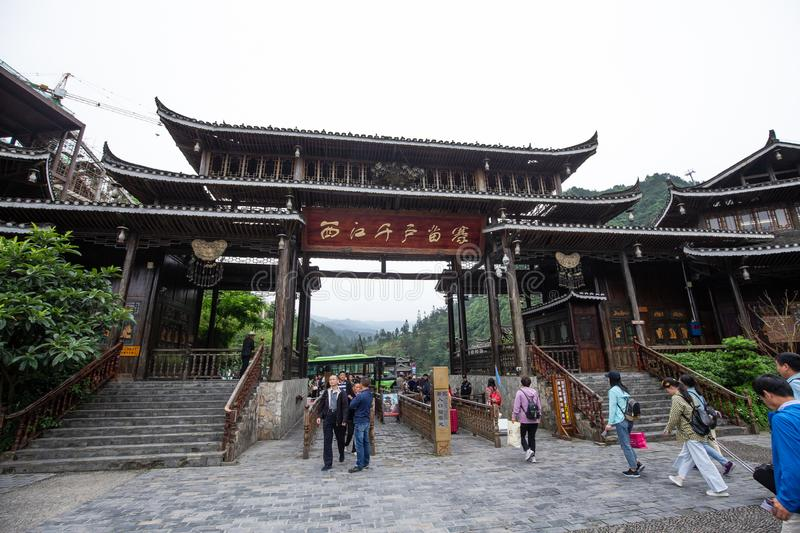 Thousand miao village is a famous old place in guizhou china,a lot of peoples come here everyday stock image