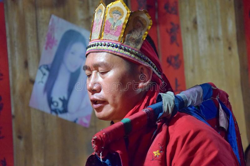 GUIZHOU PROVINCE, CHINA – CIRCA DECEMBER 2018: The ritual redeeming the vow. The ritual redeeming the vow`in a village of Guizhou accompanied by royalty free stock photo