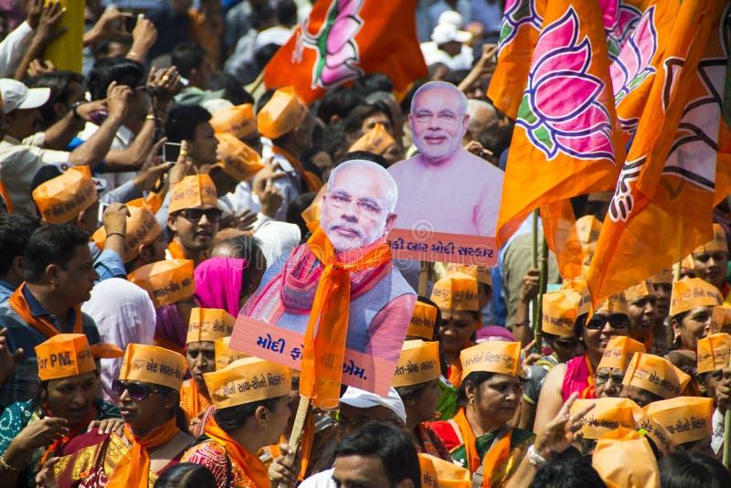 Gujarat Naczelny minister i BJP pierwszorzędny ministerialny kandydat Narendra Modi obrazy royalty free