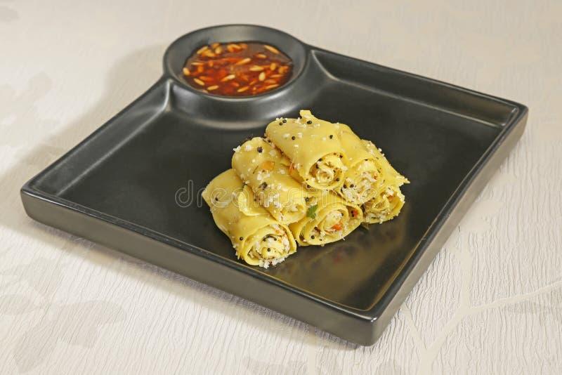 Gujarati Khandvi or Steamed Gram Flour Snack - Indian Food.  royalty free stock photos