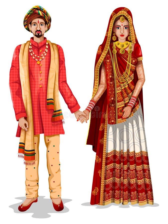Gujaratii在古杰雷特,印度的传统服装的婚礼夫妇 皇族释放例证