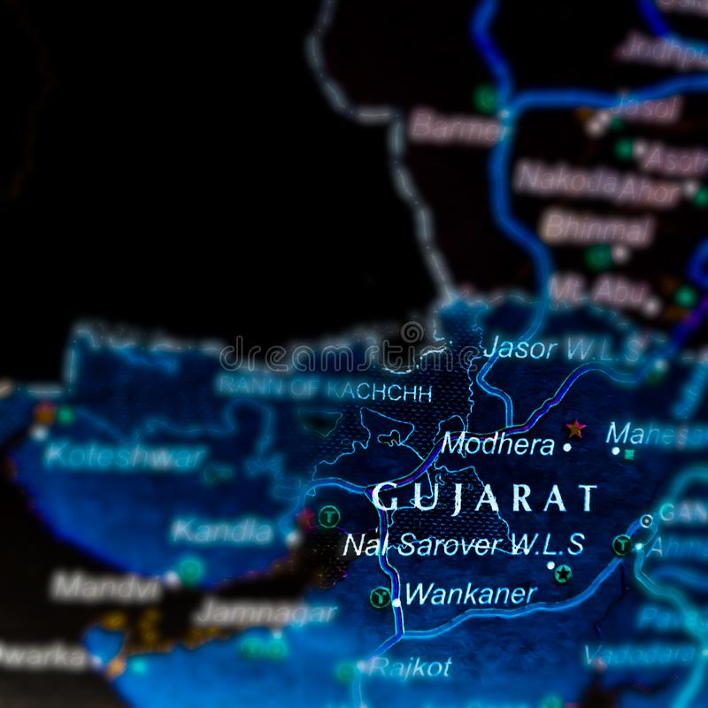 Gujraj state of India name presented on geographical location map. Delhi, city, displaying, maharashtra, background, displayed, madhya, pradesh, located stock photos