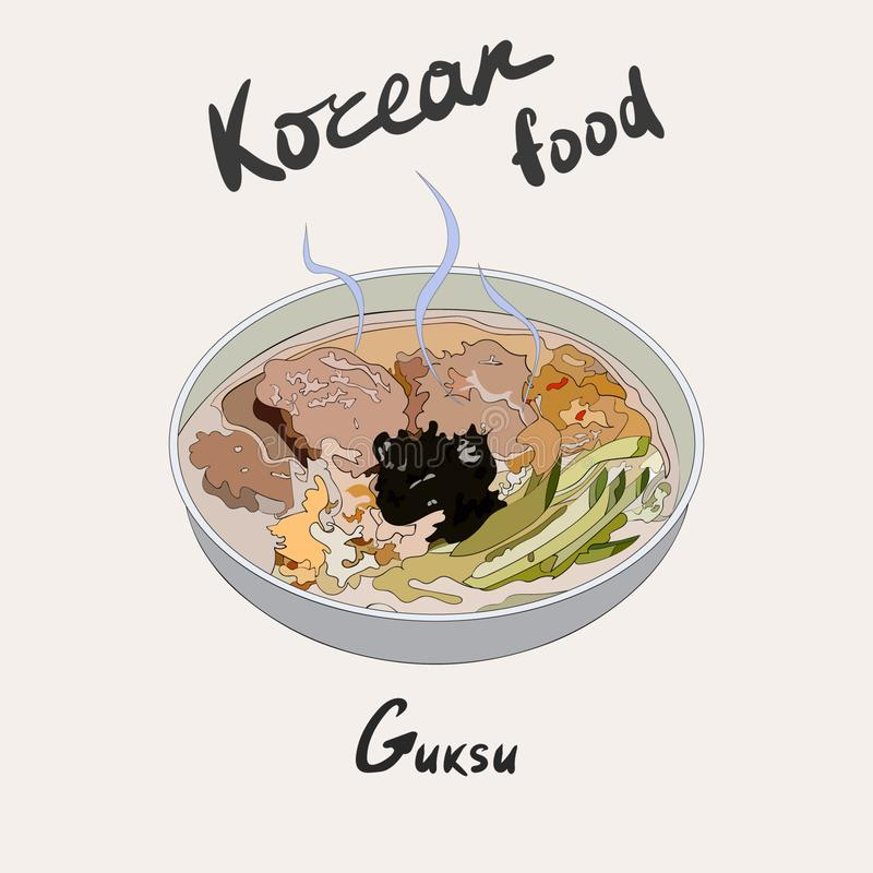 Guksu Korean warm noodles soup made with myeon. Tradional Korean side dish vector illustration