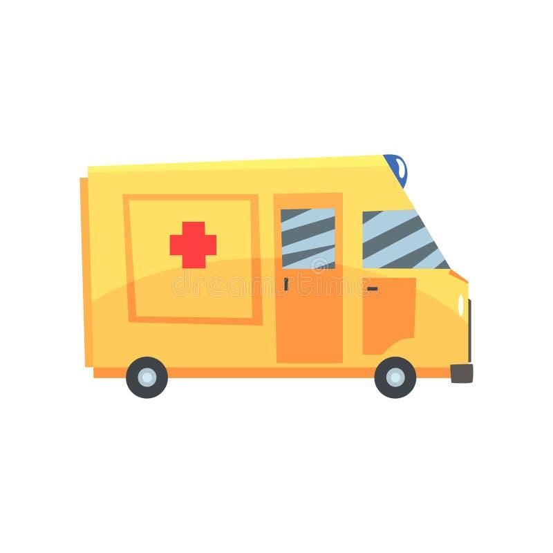 Gul ambulansbil, nöd- för medeltecknad film för medicinsk service illustration för vektor stock illustrationer