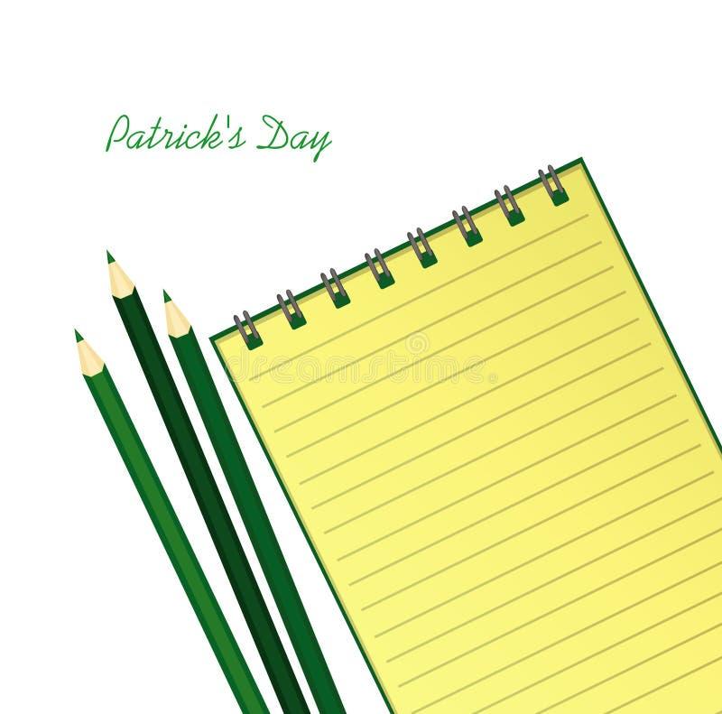 Gul anteckningsbok med mall hand-dragen grön festlig bunting med växt av släktet Trifolium och blyertspennan Irländsk ferie - lyc vektor illustrationer