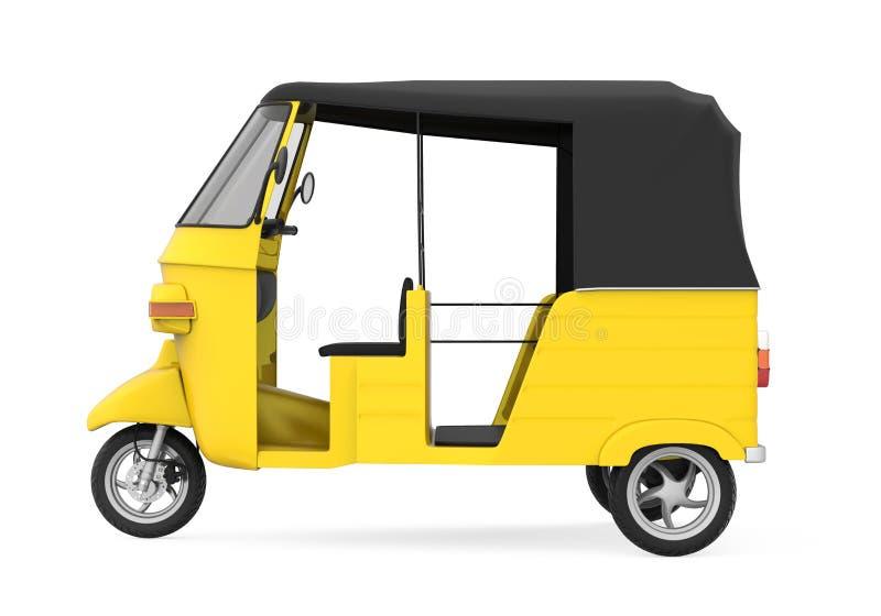 Gul auto Rickshaw royaltyfri illustrationer