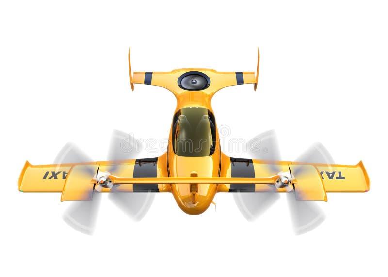 Gul autonom flygsurrtaxi som isoleras på vit bakgrund stock illustrationer