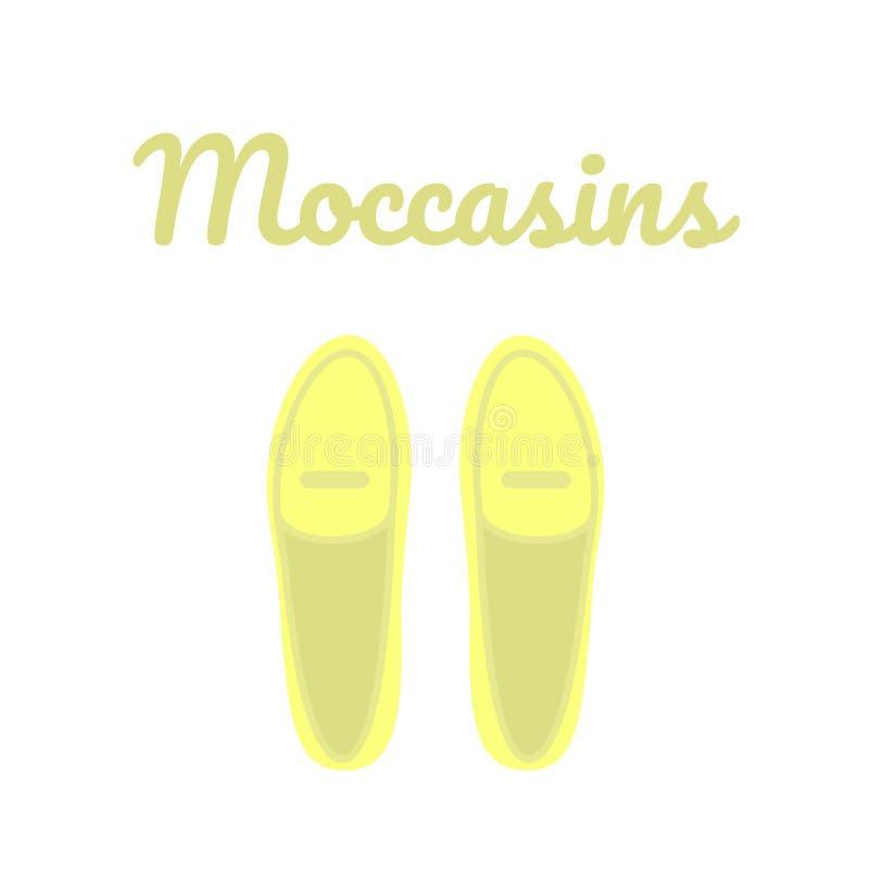 Gul bästa sikt för skor Kvinnors tillfälliga skor stock illustrationer