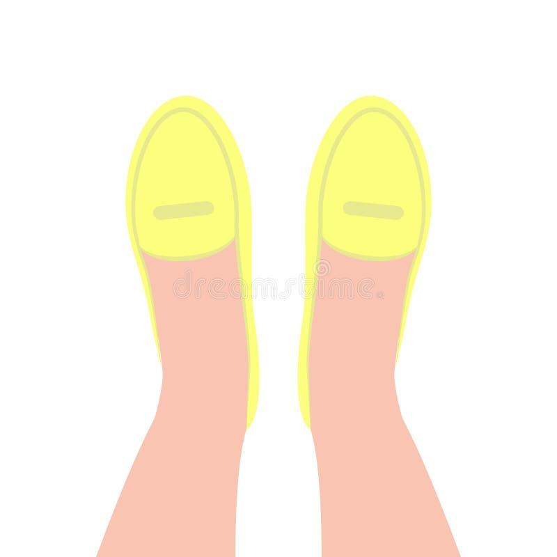 Gul b?sta sikt f?r skor Kvinnors klassiska skor royaltyfri illustrationer