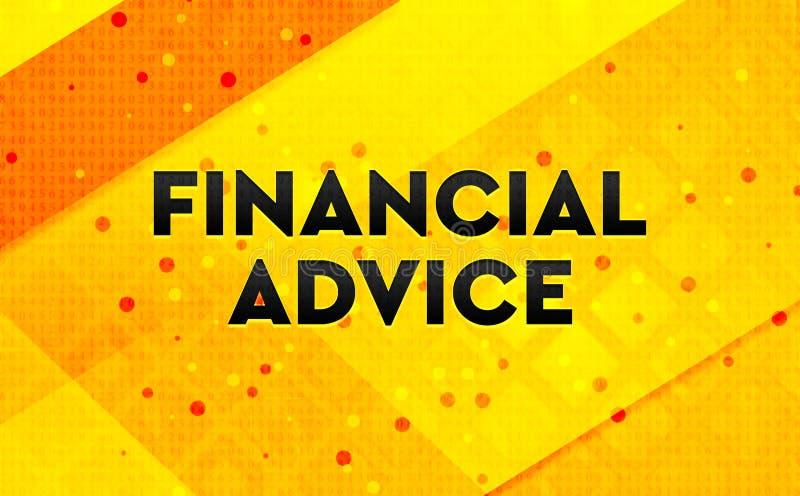 Gul bakgrund för finansiellt baner för rådgivning abstrakt digitalt stock illustrationer