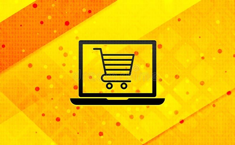Gul bakgrund för online-för bärbar datorsymbol för shoppa vagn baner abstrakt digitalt stock illustrationer