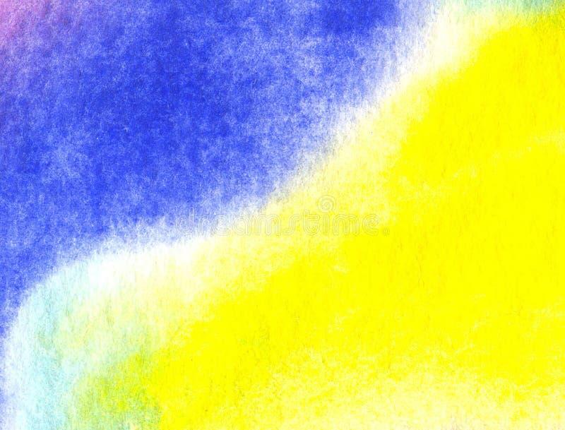 Gul bakgrund för vattenfärg med den abstrakta modellen och textur vektor illustrationer