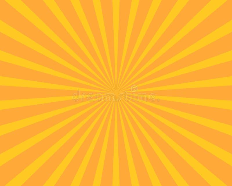 Gul bakgrund för vektor för solbristningsillustration Abstrakt begrepp och Wa royaltyfri illustrationer