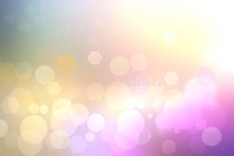 Gul bakgrundstextur för abstrakt purpurfärgad lutning med suddiga bokehcirklar, polygoner och ljus Utrymme för design stock illustrationer