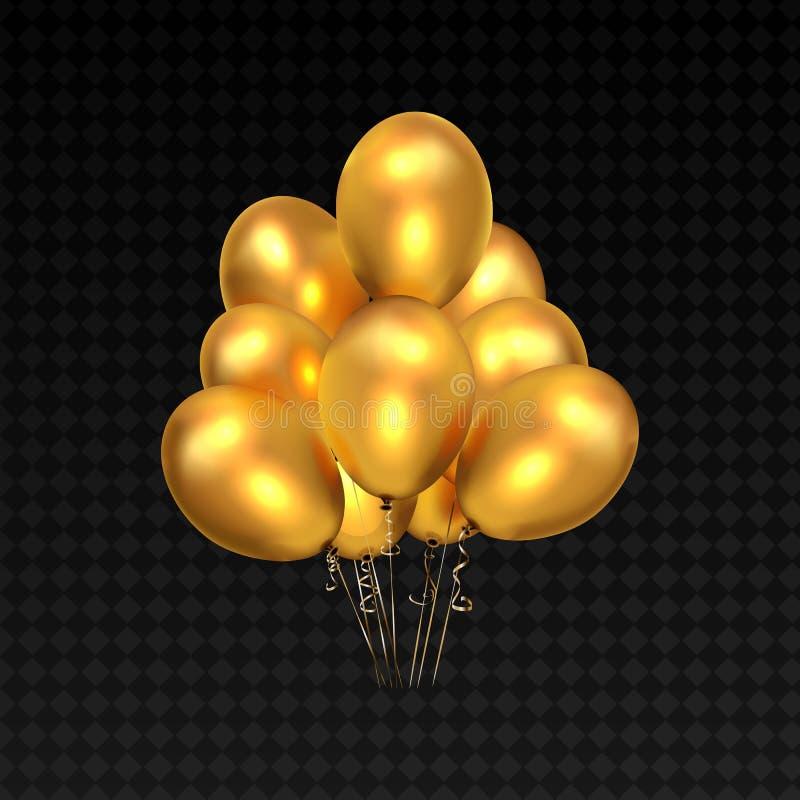 Gul ballonger och guld- för design för festival för födelsedagparti eller ballong royaltyfri illustrationer