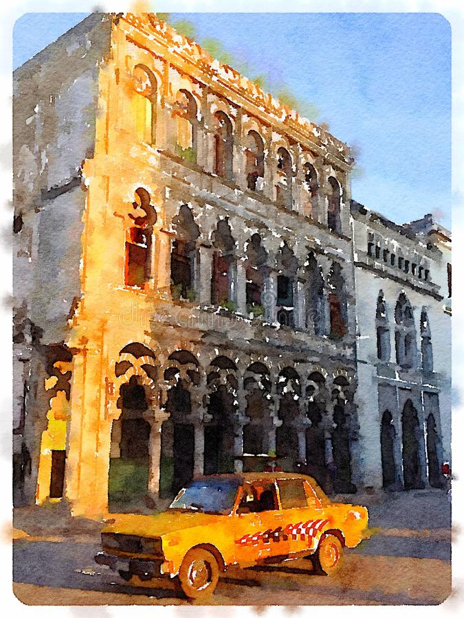 Gul bil i havannacigarr i Kuba arkivbilder