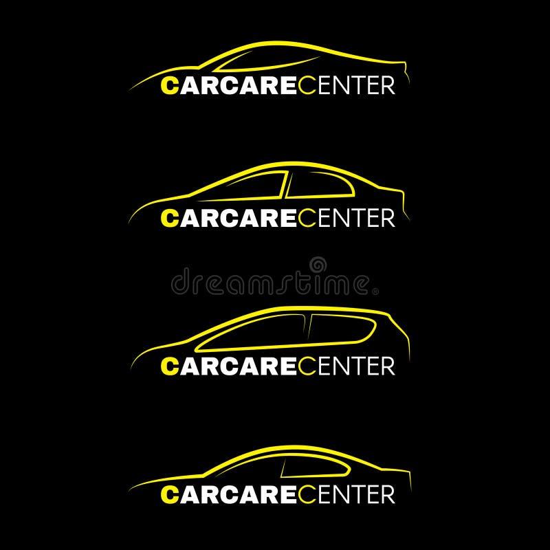 Gul biltvättmittlinje stil för logo 4 på svart bakgrund vektor illustrationer