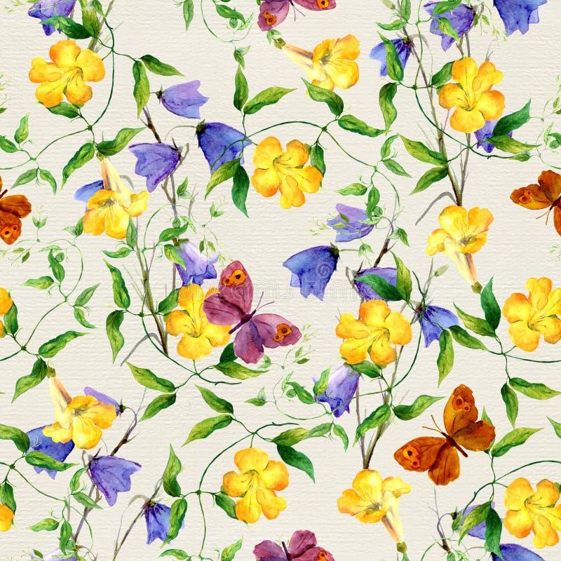 Gul blomma, blåklocka, fjärilar blom- upprepa för modell stock illustrationer