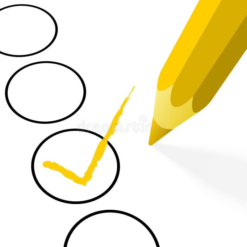 gul blyertspenna med kroken stock illustrationer