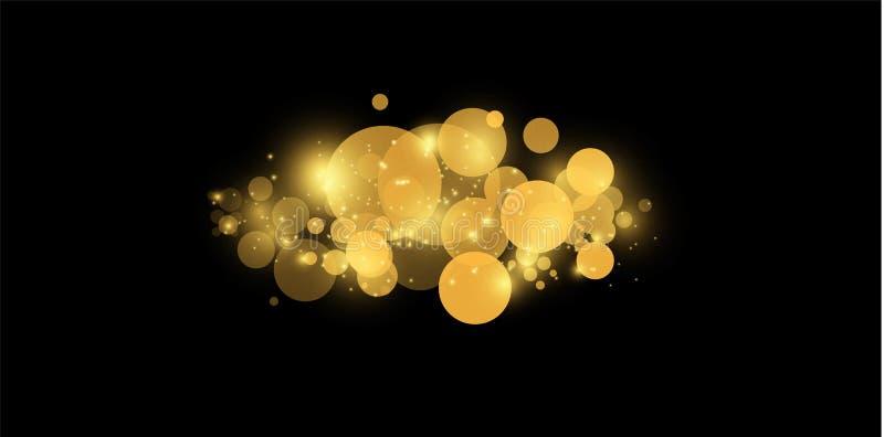 Gul bokeh Abstrakta begreppet av bakgrund för cirkelljusbokeh guld- lampor för bakgrund Begrepp för julljus vektor vektor illustrationer