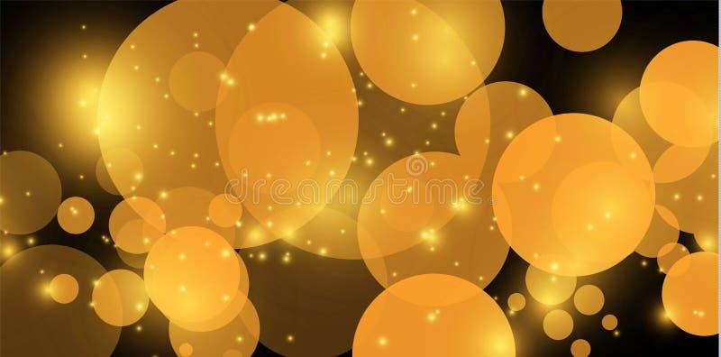 Gul bokeh Abstrakta begreppet av bakgrund f?r cirkelljusbokeh guld- lampor f?r bakgrund Begrepp f?r julljus vektor vektor illustrationer
