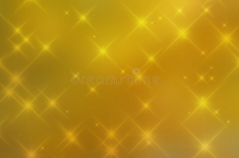 Gul bokeh för bakgrund med lite stjärnor royaltyfri illustrationer