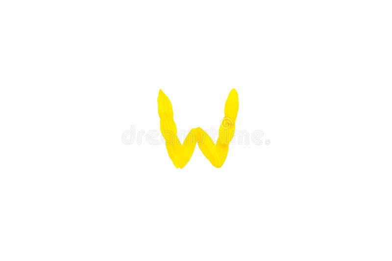 Gul bokstav W från solroskronbladstilsorter, alfabetbeståndsdel, dekorativ stilsortsisolat för skönhet av en vit bakgrund royaltyfria bilder